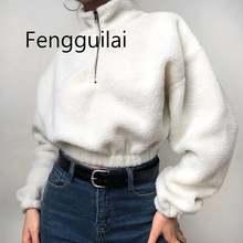 Fengguilai/2019 белые винтажные короткие свитшоты на молнии