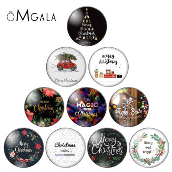 Merry Christmas patterns letters words 10pcs 10mm/12mm/18mm/20mm/25mm Round photo glass cabochon demo flat back Making findings - discount item  10% OFF Jewelry Making