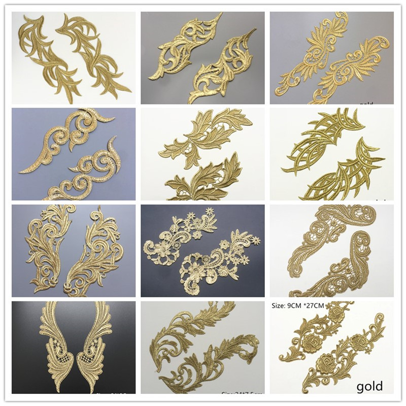 Mirror Pair Embroidered Golden Floral Guipure Lace Applique Patch Sewing For Dress JA104