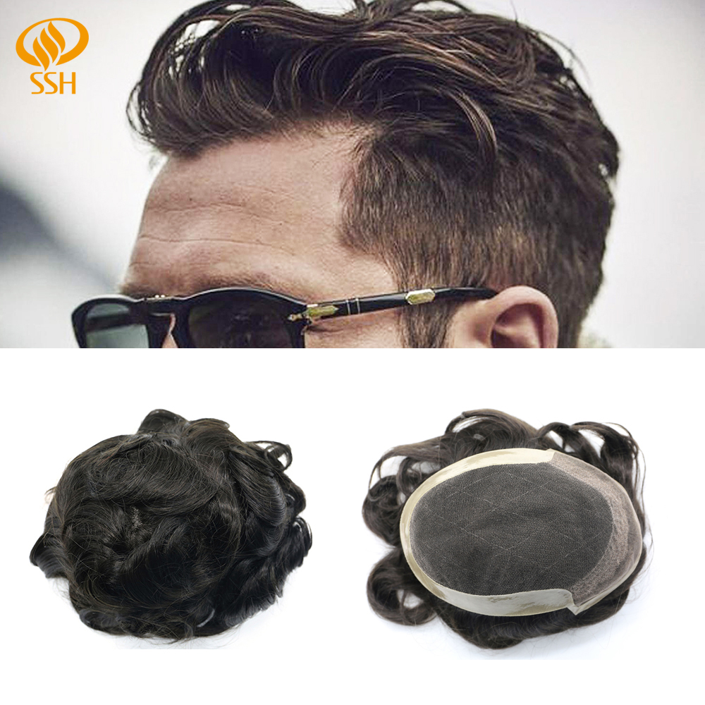 SSH Remy Hair Mens Toupee Fine French Lace Poly Around Hairpieces Human Hair Durable Man Wig Replacements