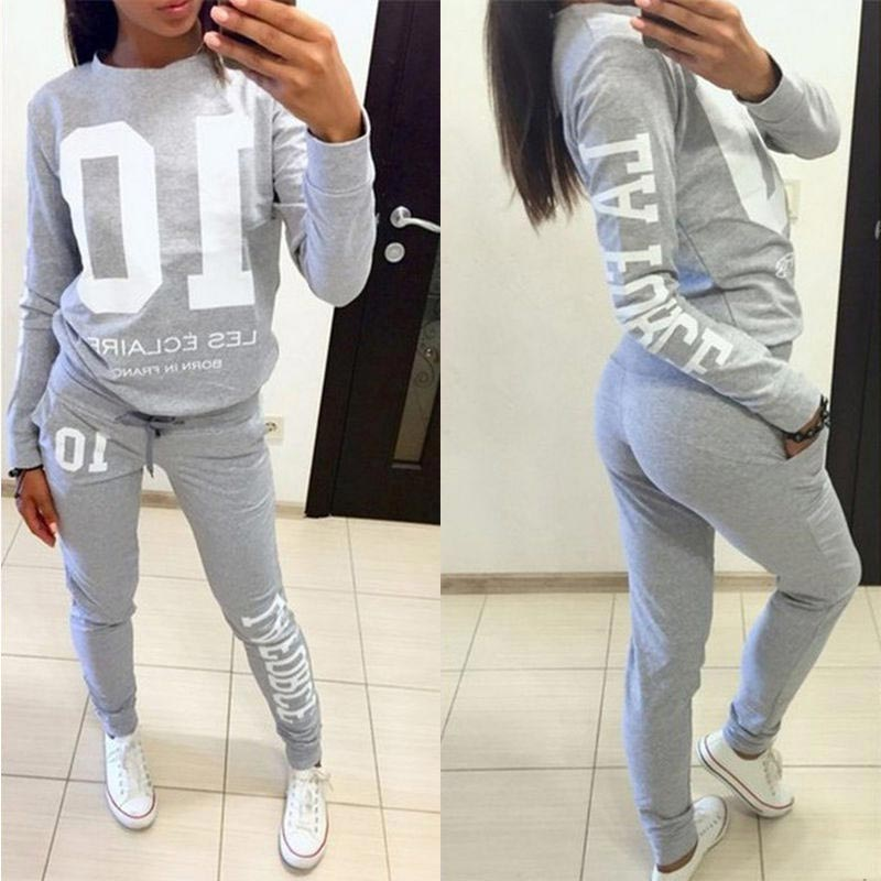 Women 2Pcs/Set Tracksuit Jogger Jogging Letter Print Sweatshirt+Pants Loungewear Suit AIC88