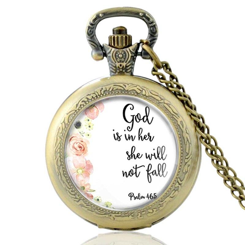 High Quality Retro Bible Verses  Bronze Quartz Pocket Watch Classic Men Women Antique Necklace Pendant Gifts