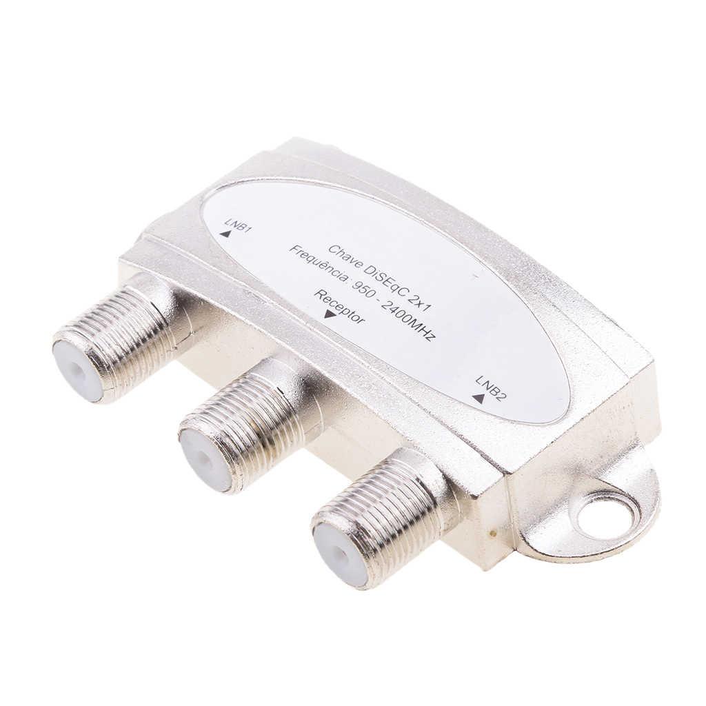 Satélite a prueba de agua 2x1 conmutadores DISEqC LNB LNBF Red de plato de aire Multi-interruptor para receptor de satélite