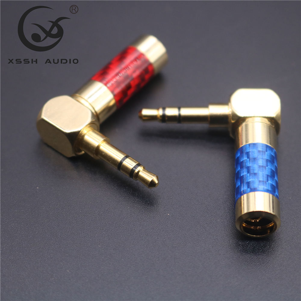 Ángulo recto de alta fidelidad Chapado en Oro 3.5mm Estéreo Mini Jack Plug Conector