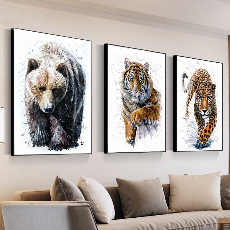 Watercolor Bear Fox Wolf Owl Tiger Diamond Painting Wall Art Animal Canvas Painting Nordic Style Diamond Embroidery Cross Stitch(China)