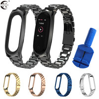 Für Xiaomi Mi Band 5 4 3 Strap Metall Armbänder Edelstahl Armband für Mi band 4 Strap Correa Miband 5 handgelenk Bands Pulsera