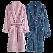 Men Bathrobe Kimono Couples Night-Gown Matching Long-Sleeve Flannel And Minimalist-Style