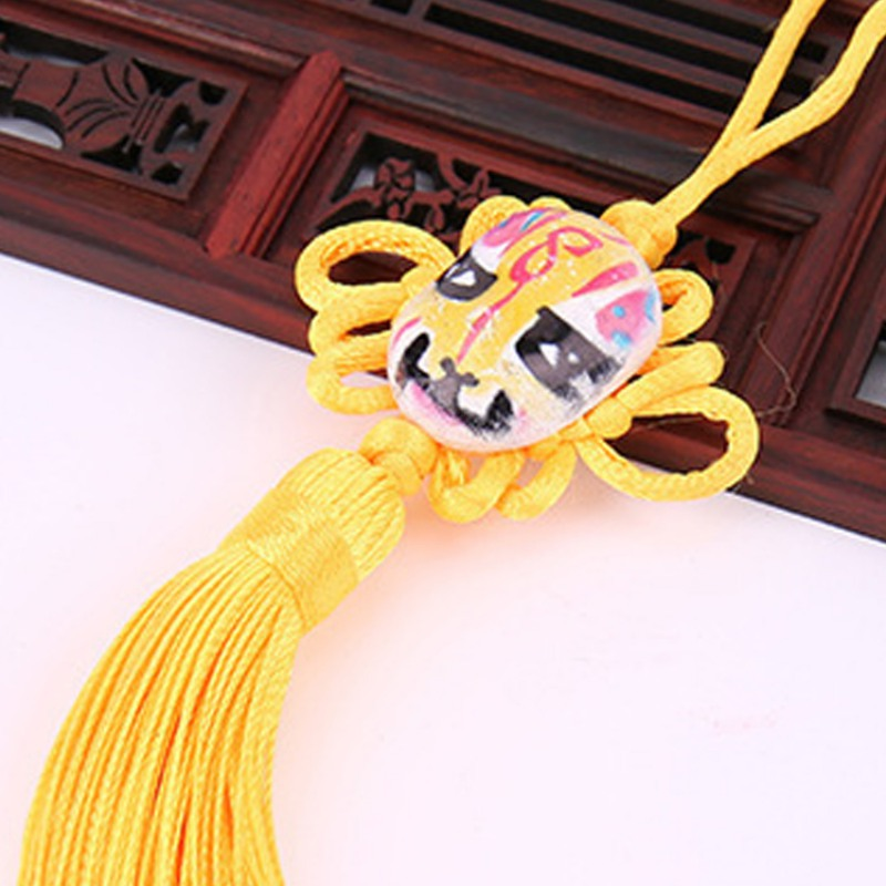 3pcs/set Chinese Knotting Cord Peking Opera Facebook Tassel Lucky Knot Rope Kit Feng Shui Keychain Gift Red Chinese Knots Tool