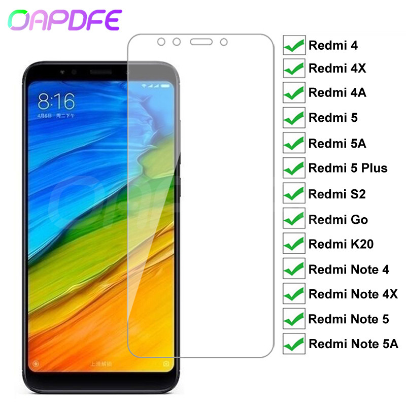 9H Premium Tempered Glass For Xiaomi Redmi 5 Plus 5A 4 4X 4A S2 Go K20 Note 4 4X 5 5A Pro Screen Protector Protective Glass Film