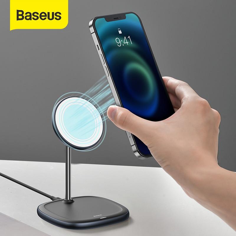 Support de bureau magnétique Baseus chargeur sans fil pour iPhone 12 Pro support de bureau support de téléphone avec chargeur sans fil 15W