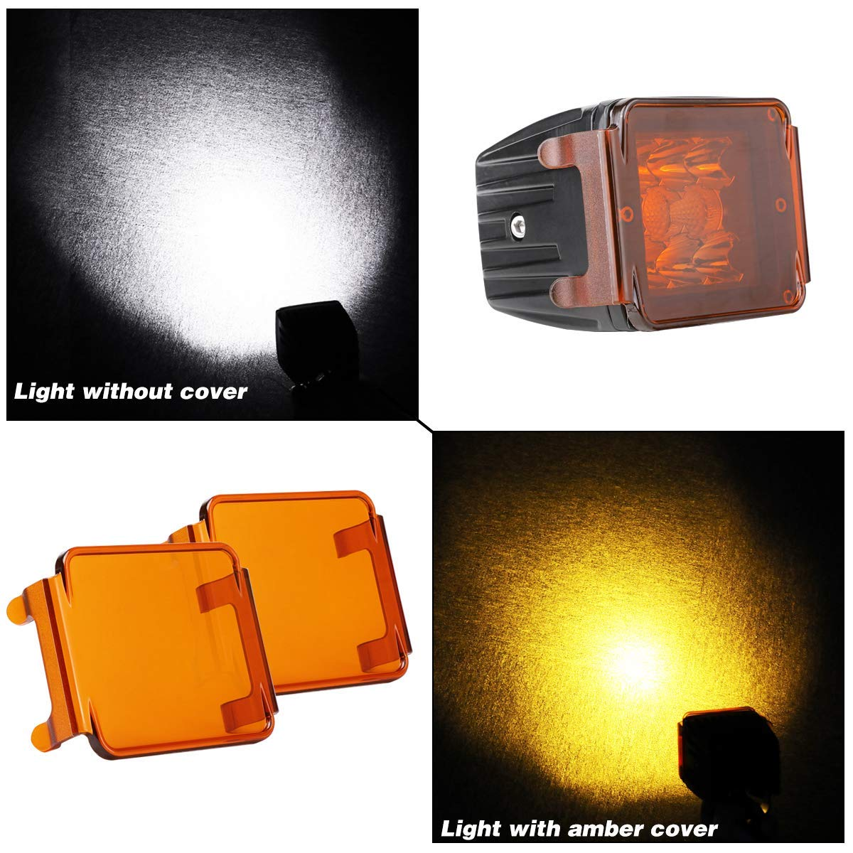 Work Lights Driving Lights Fog Lights Black LED Cube Light Covers Nirider 2PCS 3 Inch Light Bar Covers for Square LED Pods Off Road Lights