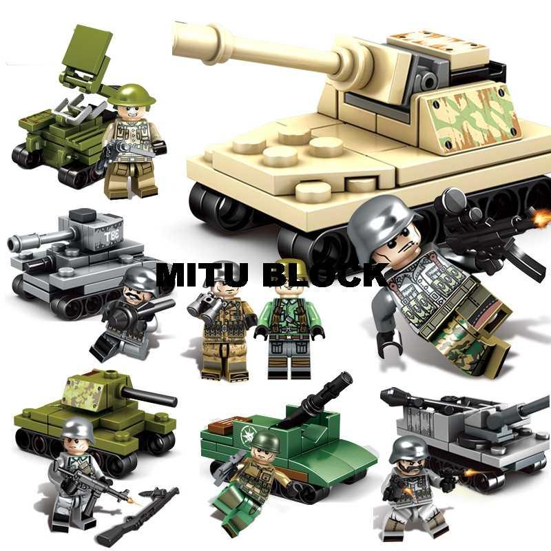 WW2 الروسية إيطاليا لنا البريطانية فرنسا العسكرية الجيش Swat الجنود مع خزان الأسلحة اللبنات أرقام هدية لعبة أطفال