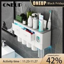 ONEUP yeni diş fırçası tutucu otomatik diş macunu dağıtıcı bardak duvara monte tuvalet depolama raf banyo aksesuarları seti