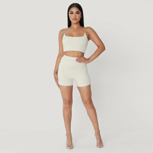 KGFIGU 2 Piece Set Women camisole Tops and skinny Shorts Sweat Suits Sexy Club Outfits Two Piece Casual Tracksuit Matching Sets(China)
