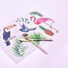 ПВХ мультфильм Фламинго Нескользящие изоляционные салфетки coaster
