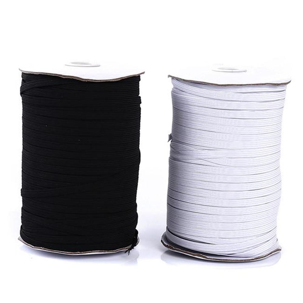 200Yards Spool Sewing Band Flat Elastic Cord White/Black DIY Handmade Sew Materials Elastic Band For For Sewing Craft DIY Mask