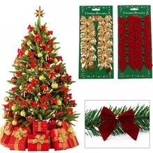 12 шт. симпатичные золотые бантики, Рождественское украшение, Елочное украшение, праздничные бантики, елочные шары, новогоднее и Рождественс...