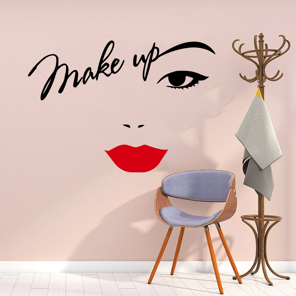 Beauty Salon Wall Sticker Beautiful Lady Hairdresser For Lady's Red Lips Vinyl Makeup Sticker Hair Hairdo Barbers Decal