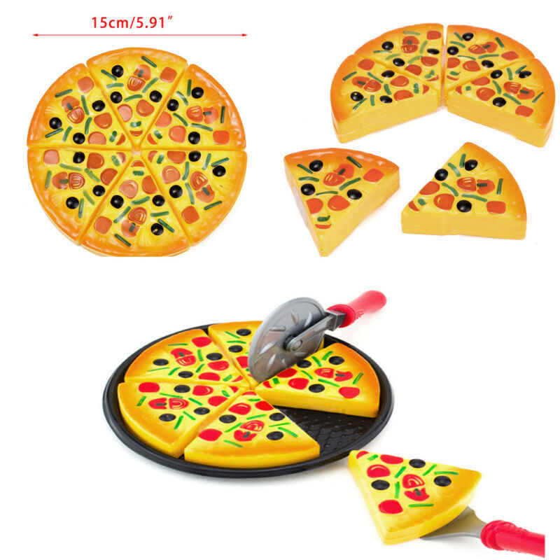 Kids Kitchen Pretend to Play Plastic Pizza Fries Food Slices Cutting Kitchen toy set Educational Toys For Children Boys Girls