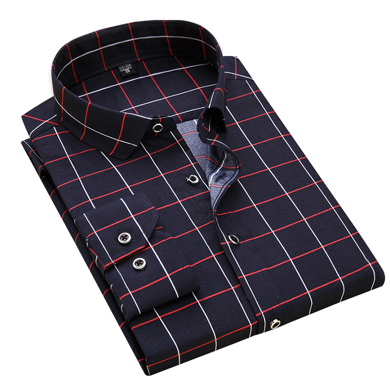 2020 New Arrival 100% Polyester Men's Shirt Fashion Men Print Plaid Long Sleeved Shirt Male Slim Fit Brand Clothing DS217