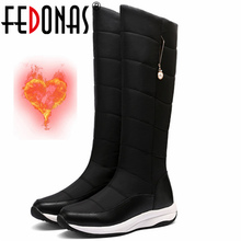 FEDONAS 2021 Winter Warm Fashion Genuine Leather Women's Boots Newest Comfortable Wedged Shoes For Women Party Shoes Woman