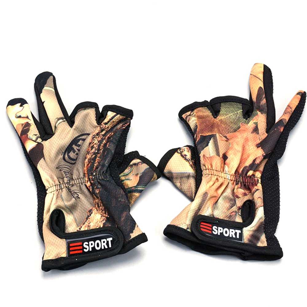 1Pair Breathable 3 Cut Finger Anti-slip Fishing Sun Protection Sports Gloves New