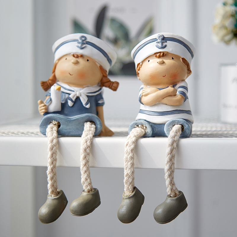Home Decoration Mediterranean Style Creative Wall Hanging Foot Doll Resin Crafts Hanging Leg Doll Elf Doll Figurines 2pcs/set