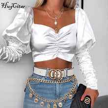 Hugcitar 2019 long puff sleeve sexy crop tops satin autumn winter women ruched fashion streetwear outfits T-shirts цена и фото