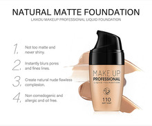 LAIKOU Professional Full Coverage Liquid Foundation Face Base Makeup Natural Color Concealer Whitening Lasting Primer