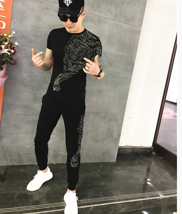 PLUS Size M-5XL Men SET Summer Tracksuit Set Short Sleeve  Suit Tops Shorts Male Suits Tracksuit