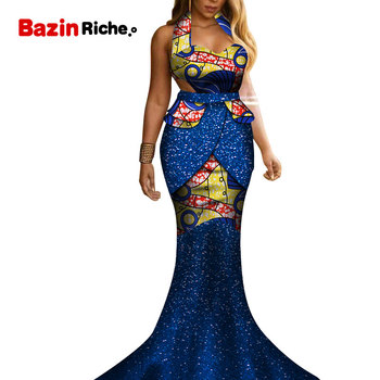 Strapless Mermaid Dresses for Women Party Wedding Date Dashiki African Women Party Dresses 2019 African Dresses for Women WY5220