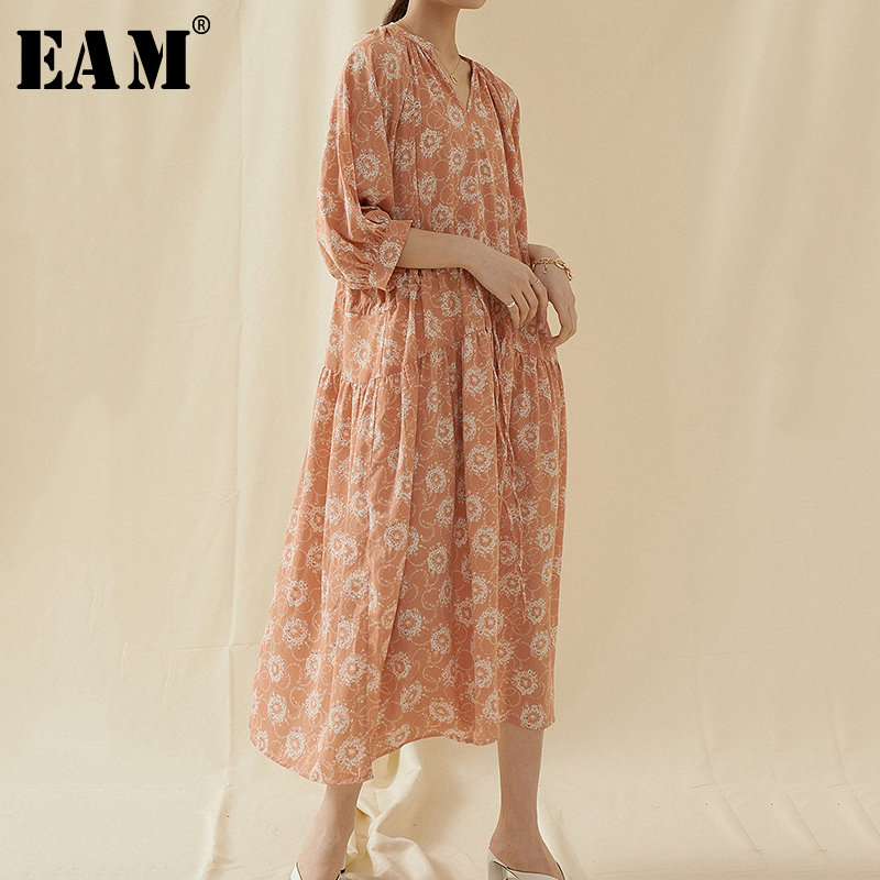 [EAM] Women Pattern Printed Big Size Long Dress New V-Neck Three-quarter Sleeve Loose Fit Fashion Tide Spring Summer 2020 1U757