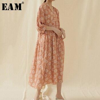 [EAM] Women Pattern Printed Big Size Long Dress New V-Neck Three-quarter Sleeve Loose Fit Fashion Tide Spring Summer 2020 1U757