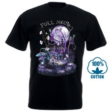 Full Moon Men'S Tshirt Uv Reactive Glow In Blacklight Psychedelic Festival Goa Men T Shirt Cotton 100% Top Tee(China)