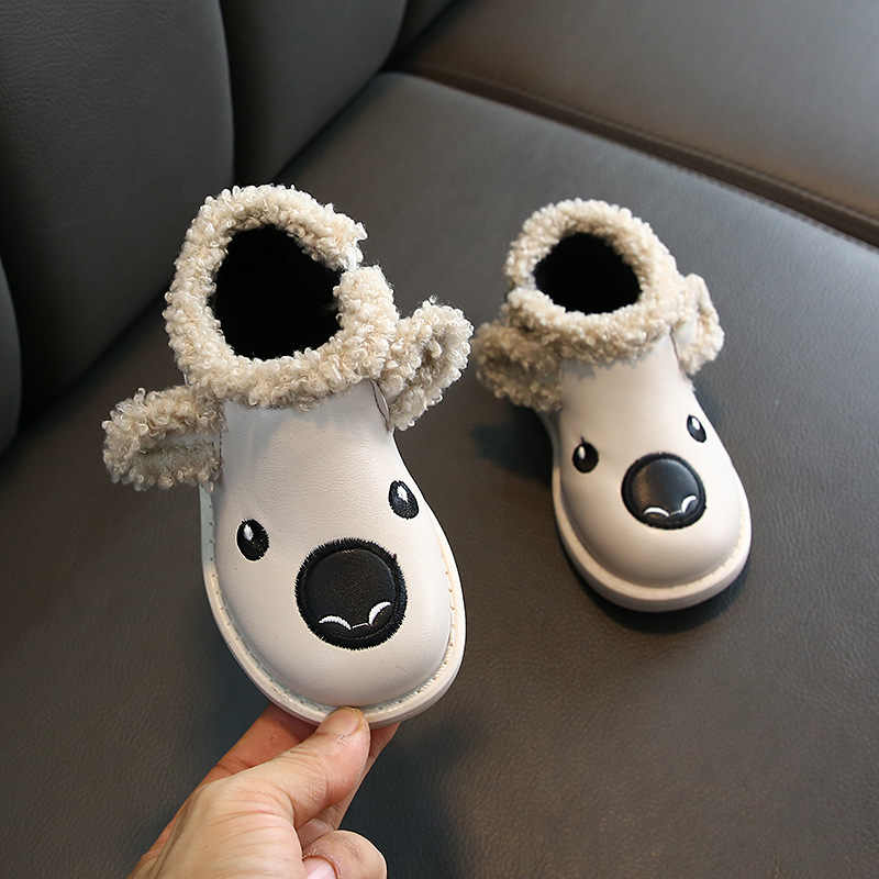 Winter Kids Snow Boots Animal Puppy Toddler Boys Boots Plush Warm Cotton Shoes Baby Girls Soft Bottom Children Ankle Boot