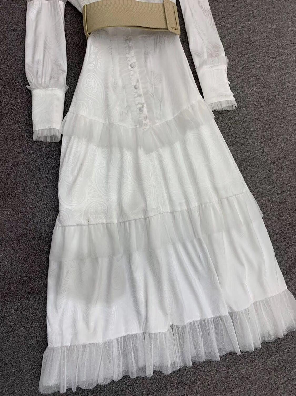 LINGHAN Imprimiu o Vestido Maxi do vintage das Mulheres Sexy Malha Patchwork Elegante Vestidos Plissados Partido Marca Designer Novo - 3