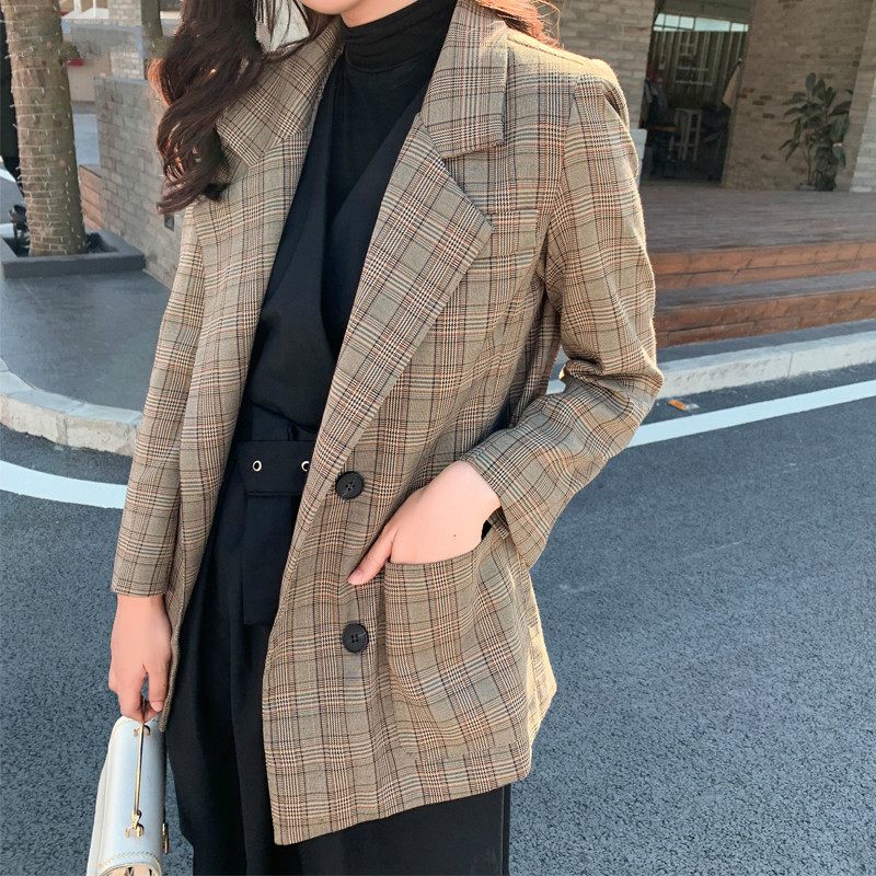Drop Shipping Casual Loose Women Blazer Double-breasted Plaid Female Suit Jacket Notched Collar Women Coat Femme Winter Outwear