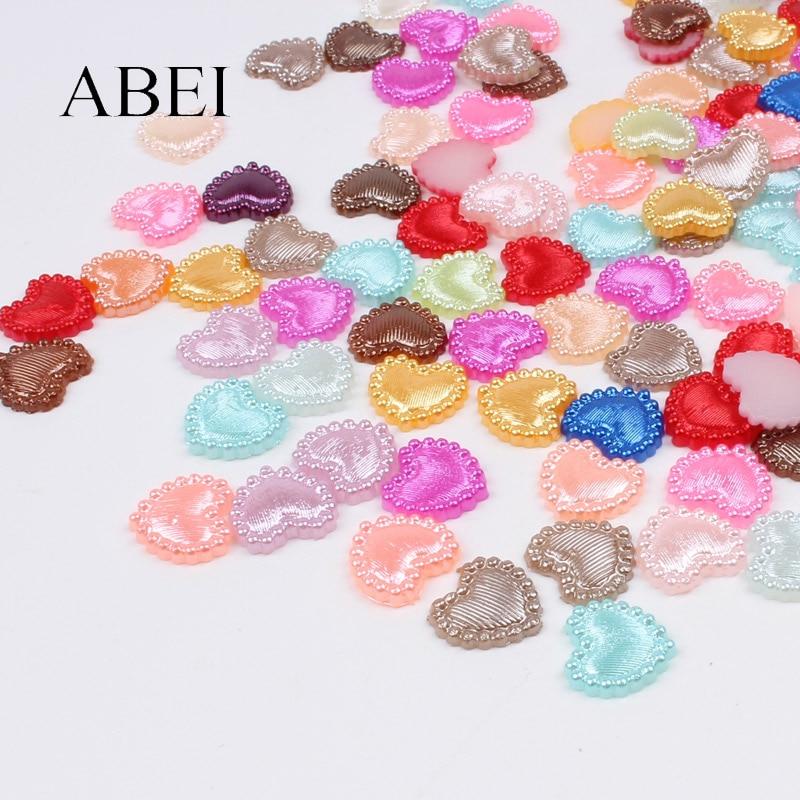 100pcs White AB 10mm Flat Back Half Round Resin Pearls Kawaii Embellishments