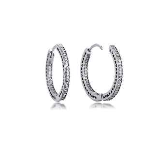 Image 5 - Authentic 925 Sterling Silver Hearts of Signature Hoop Earrings with Clear CZ 27 mm Earrings for Women Girls Gift  brincos