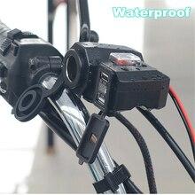 цена на Motorcycle USB Socket Dual USB Port for Phone GPS Motorbike Handlebar Charger 2.1A & 2.1A Power Socket Power Supply Waterproof