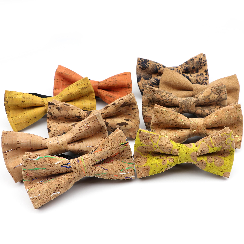 New Children Cork Wooden Fashion Bow Ties Kid Novelty Handmade Solid Neckwear For Kids Wedding Party Wood Gift Child Bowtie