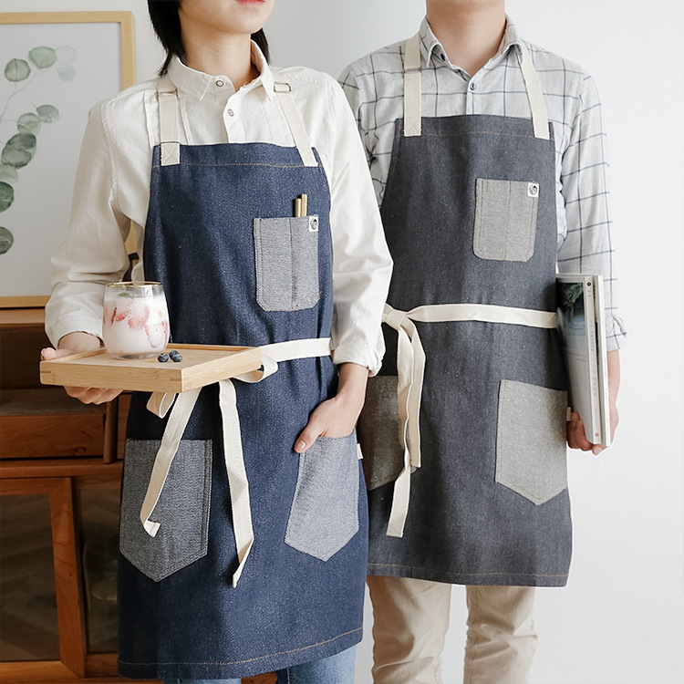 Denim Patchwork Aprons Classic Design Work Apron BBQ Bib Apron For Women Cooking Baking Restaurant Apron Cleaning Tools Pinafore image