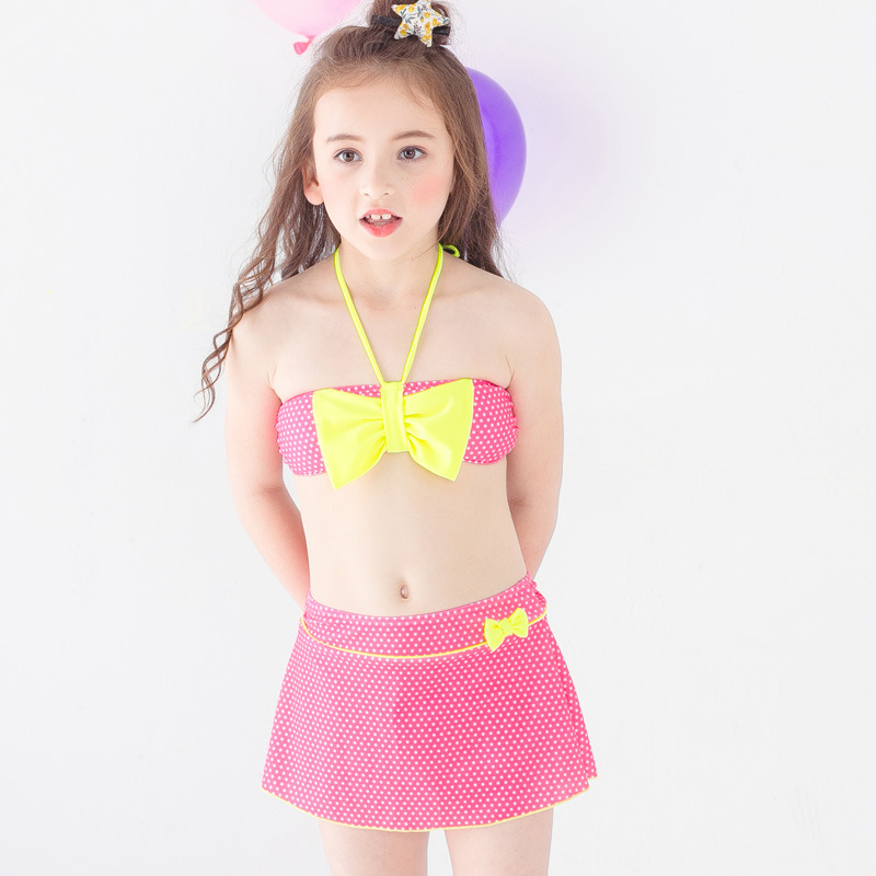 PA Yasen New Style Bathing Suit-Style Children Cute Cartoon Split Skirt-Three-piece Set Bathing Suit 1857