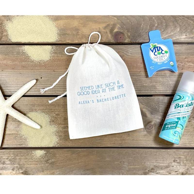 Seemed Like Such A Good Idea At The Time Custom Bridesmaid Hangovers Bag Wedding Cotton Gift Bag Bachelorette Welcome Favor Bag