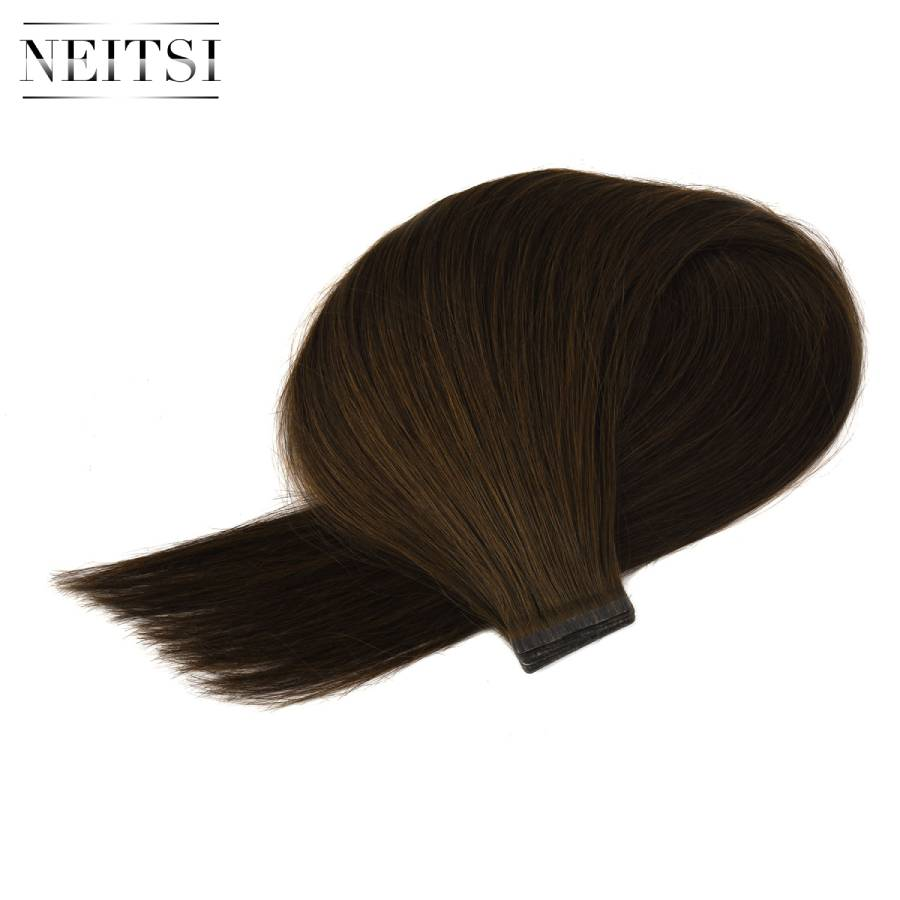 Neitsi Double-deck Invisible Remy Tape In Real Hair Extensions 100% Natural Human Hair Straight Double Drawn Skin Weft 20