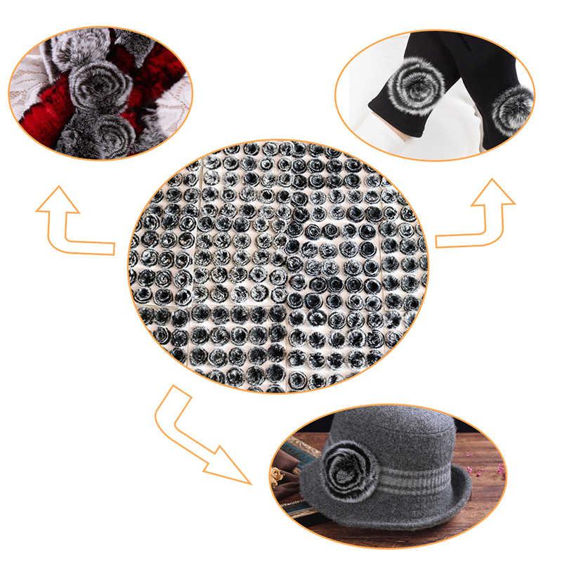 DIY Echt Konijnenbont Pom Pom Bloem Pluizige Echt Konijn Har 5cm Bloem voor Hoed Kleden Sjaal Cap Handschoen sleutelhanger Accessoires