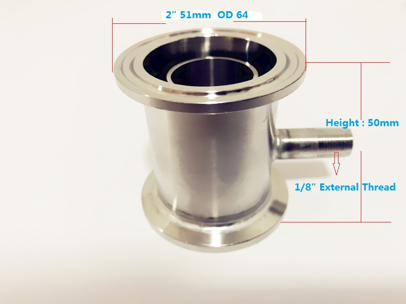 """2"""" (51mm)OD64 Sampling Device With 1/8 Male Thread For Distillation, Rectification Accessories,Stainless Steel 304"""
