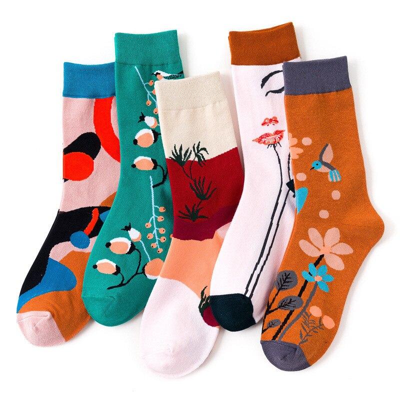 Fashion Creative Women Socks Cartoon Flower Plant Kawaii Happy Casual Funny Korean Couple Cotton Streetwear Harajuku Tidal Socks