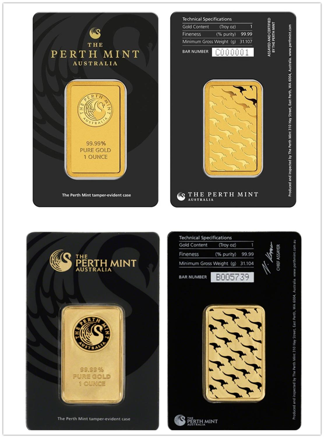 The Perth Mint 1 Oz Troy 99.99% Pure Gold Plated Replica Souvenir Australia High Relief Token Gold Bar free shipping
