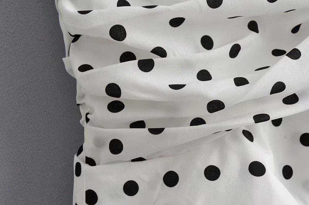 Polka Dot Print Pleated Asymmetrical Skirt 16